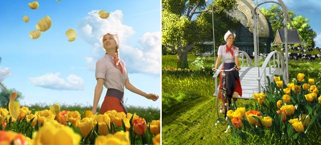 Duitse reclame met tulpen en 'Frau Antje'